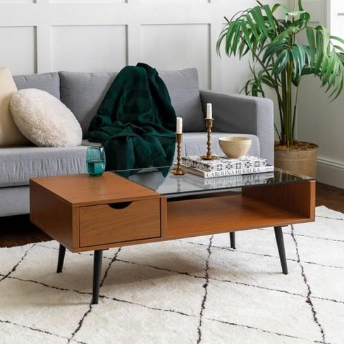 Mid Century Modern Wood And Glass Coffee Table Acron Saracina Home Target
