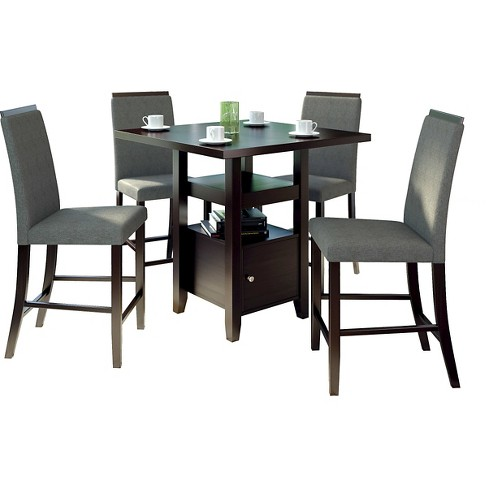 Fantastic 5 Piece Bistro Counter Height Cappuccino Dining Set Corliving Interior Design Ideas Greaswefileorg