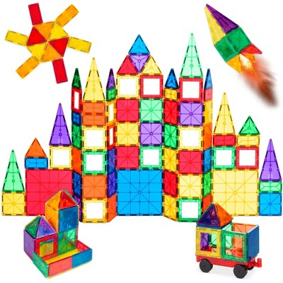 Best Choice Products 110-Piece Kids Magnetic Tiles Set Construction Building Blocks Educational STEM Toy with Case