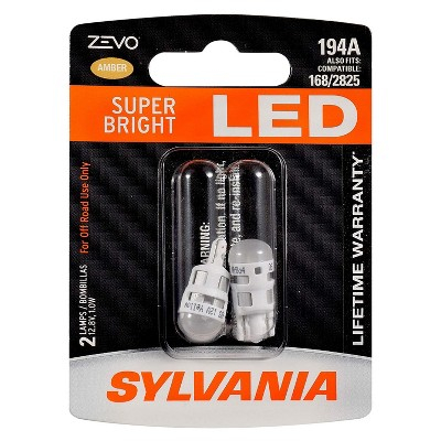 Sylvania Zevo 194 Amber T10 W5W Socket LED Super Bright Interior Exterior Vehicle Car Lighting Applications Light Bulb Set (2 Pack)