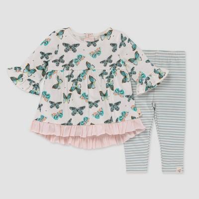 Burt's Bees Baby® Baby Girls' Butterfly Frenzy 3/4 Sleeve Tunic & Leggings - Light Pink 3-6M