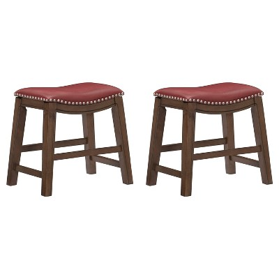 """Homelegance 18"""" Dining Height Wooden Saddle Seat Barstool, Gray Red (2 Pack)"""