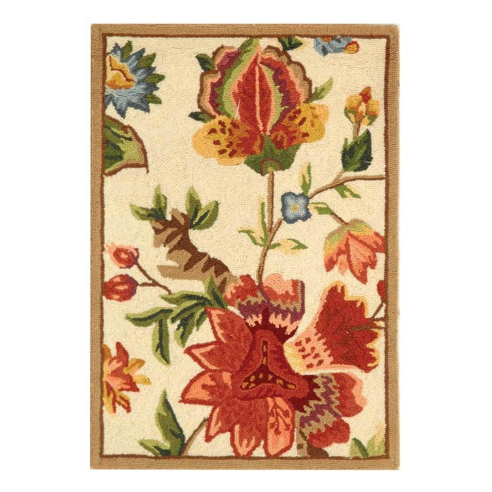 Ivory Floral Hooked Accent Rug 2'6X4' - Safavieh
