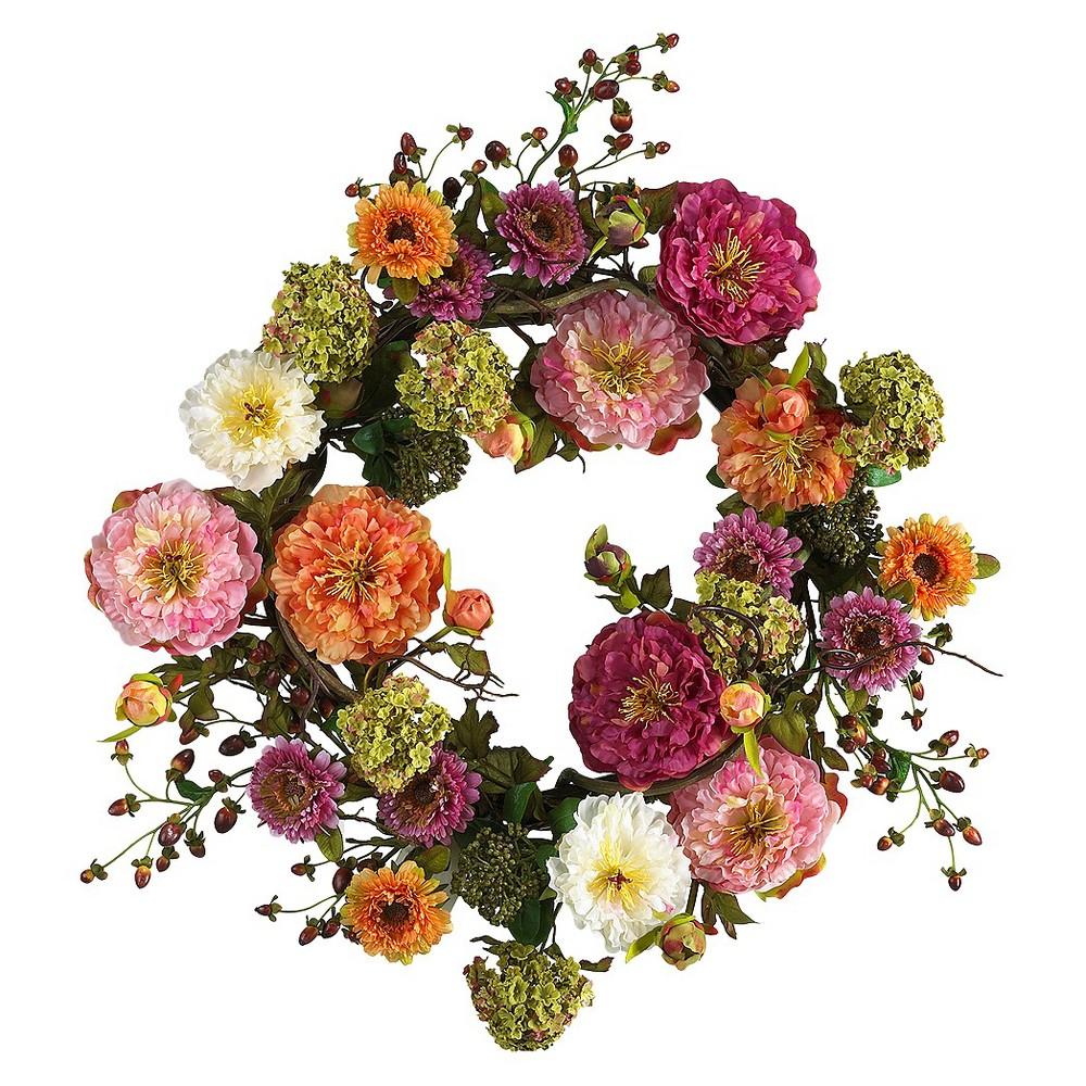 Nearly Natural 24 Peony Wreath