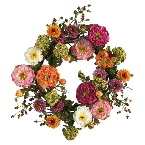 """Nearly Natural 24"""" Peony Wreath - image 1 of 2"""