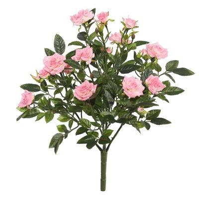 "Artificial Mini Diamond Rosa Bush (15"") Light Pink - Vickerman"