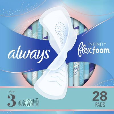 Always Infinity FlexFoam Pads for Women - Extra Heavy Absorbency - Unscented - Size 3 - 28ct