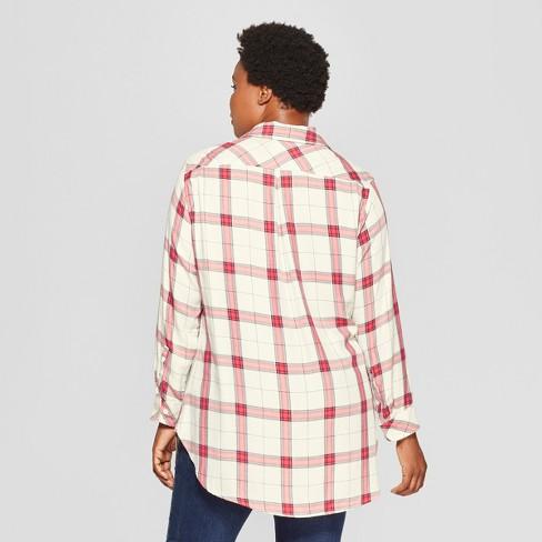 6a9e8fee3a6 Women's Plus Size Plaid No Gap Button-Down Long Sleeve Tunic - Ava & Viv™  Ivory/Red : Target