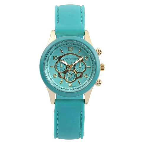 Women's Journee Collection Round Face Colored Silicone Strap Watch - Teal - image 1 of 2