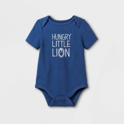 Baby Boys' Hungry Little Lion' Short Sleeve Bodysuit - Cat & Jack™ Dusty Blue 0-3M