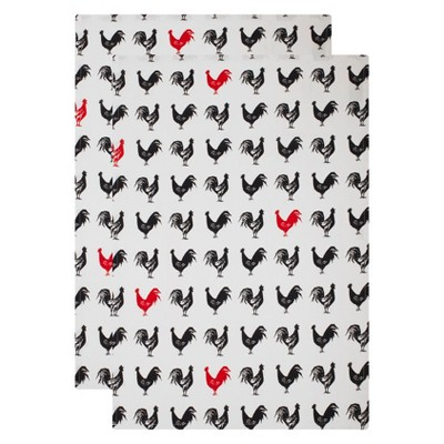 2pk French Hen Kitchen Towel Black/ White - Mu Kitchen