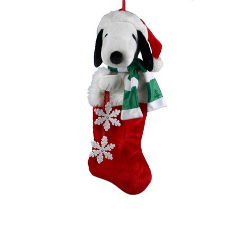 Snoopy 21 Plush Head With Snowflake Dangles Christmas Stocking Target