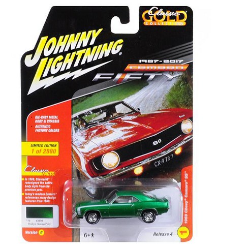 "1969 Chevrolet Camaro SS Rallye Green Poly 50th Anniversary Ltd Ed to 2920pc ""Muscle Cars USA"" 1/64 by Johnny Lightning - image 1 of 1"