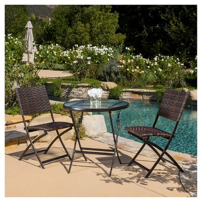 El Paso 3pc Wicker Patio Foldable Bistro Set - Brown - Christopher Knight Home