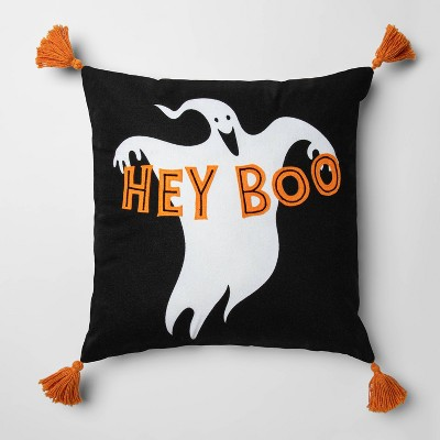 Hey Boo' Ghost Square Pillow with Tassels Black - Hyde & EEK! Boutique™