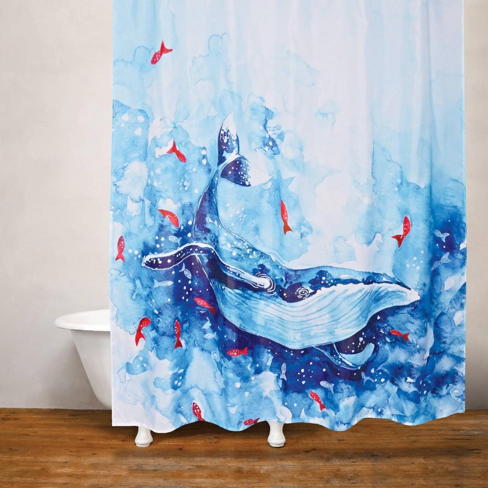 Blue Whale Shower Curtain Blue White Moda At Home