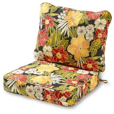 2pc Aloha Black Outdoor Deep Seat Cushion Set - Kensington Garden