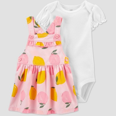Baby Girls' Lemon Skirtall Top & Bottom Set - Just One You® made by carter's Pink/Yellow