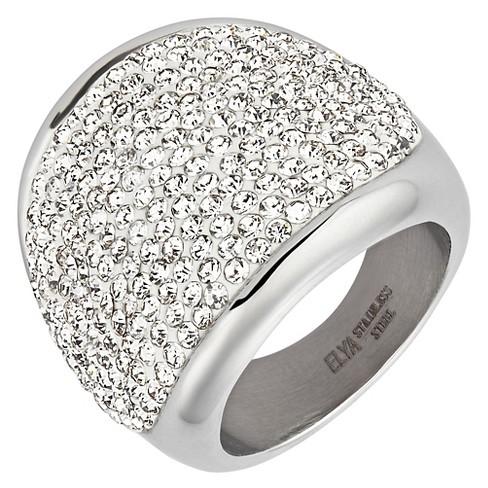 ELYA Stainless Steel Crystal Cocktail Ring (6) - image 1 of 2