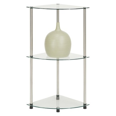 '31.5'' 3 Tier Glass Corner Shelf - Convenience Concepts'
