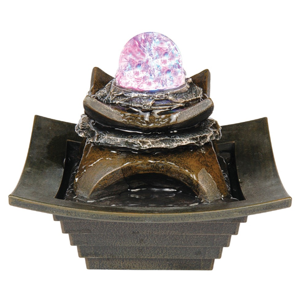 "Image of ""7"""" H Resin Outdoor Fountain - Brown - Ore International"""