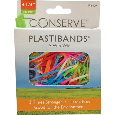 """Baumgartens PlastiBands Size 4-1/4"""" 100/BX Assorted Colors SF6000"""
