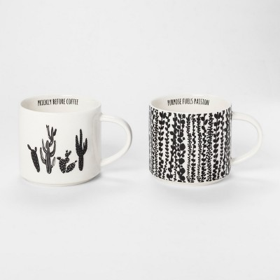 Alphabet City Mug 15oz Black/White - Set of 2 - Room Essentials™