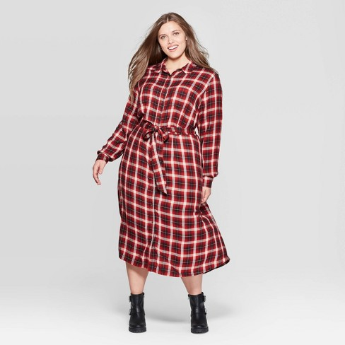Women\'s Plus Size Plaid Long Sleeve Collared Midi Tie Belt Shirtdress -  Universal Thread™ Red
