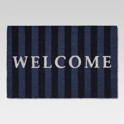 23  x 35  Welcome Outdoor Doormat Blue Stripe - Threshold™