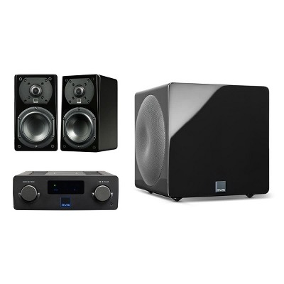 SVS Prime Wireless SoundBase and Prime Satellite 2.1 Speaker Package with 3000 Micro Subwoofer (Piano Black)