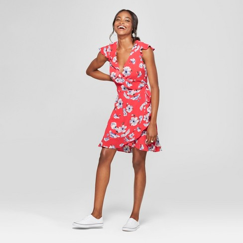 223601d97fa60 Women's Floral Print Short Sleeve Wrap Dress - Lily Star (Juniors') Coral