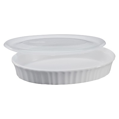 CorningWare® 27 oz Dish with Plastic Cover- French White