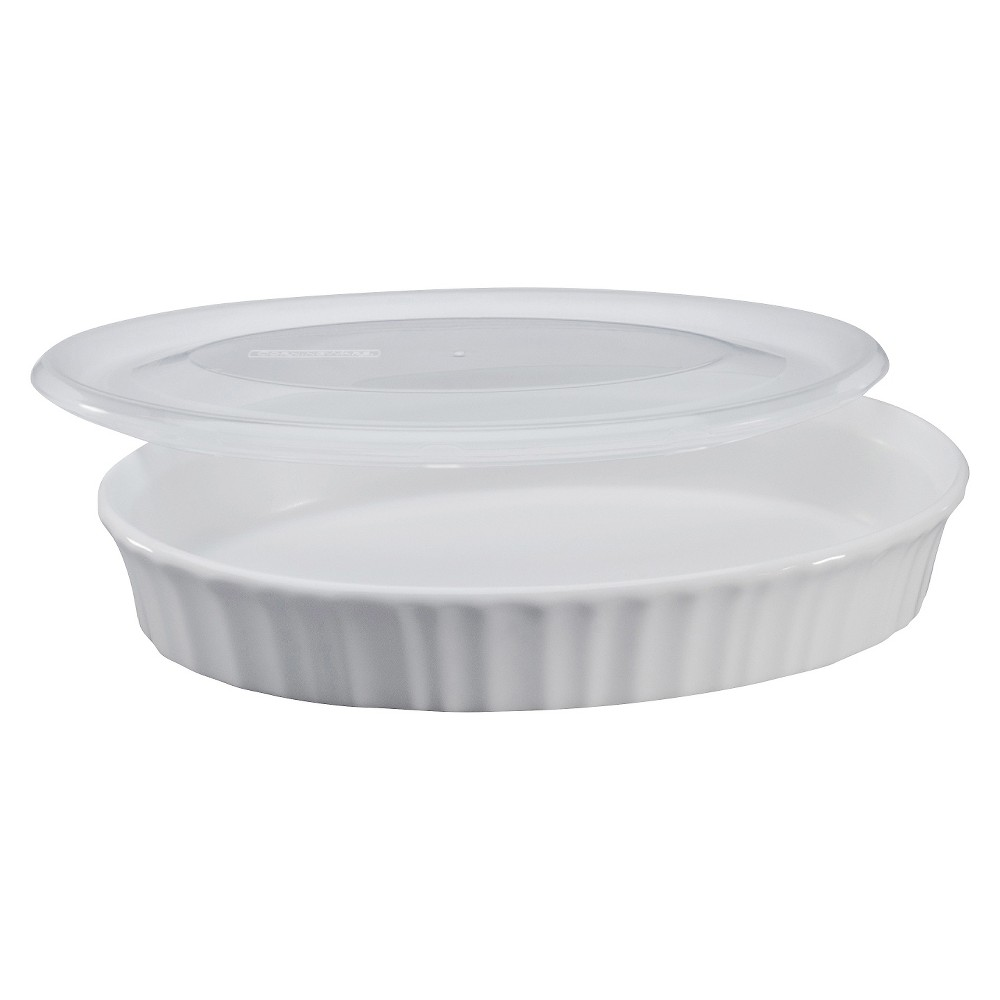 Image of CorningWare 27 oz Dish with Plastic Cover- French White