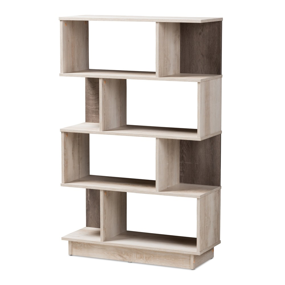 Best Discount 5020 Teagan Modern And Contemporary Oak Finished Display Bookcase Brown Baxton Studio