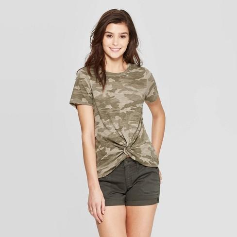 Women's Short Sleeve Crew Neck Twist Front T-Shirt - Universal Thread™ Green - image 1 of 9