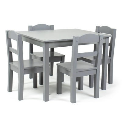 5pc Camden Kids' Wooden Table and Chair Set Gray - Humble Crew