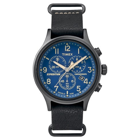 Men's Timex Expedition® Scout Chronograph Watch with Slip Thru Leather Strap - Black/Blue TW4B04200JT - image 1 of 1