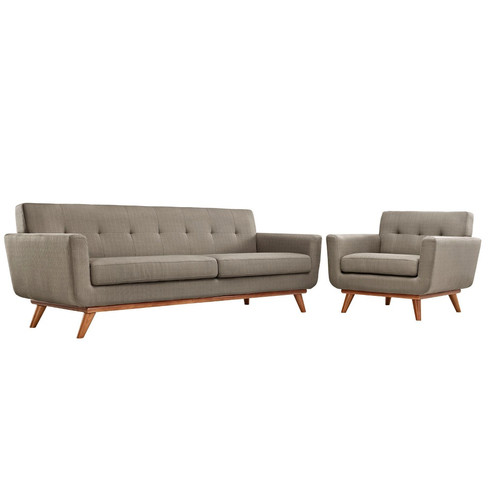 Engage Armchair and Sofa Set of 2 Granite - Modway