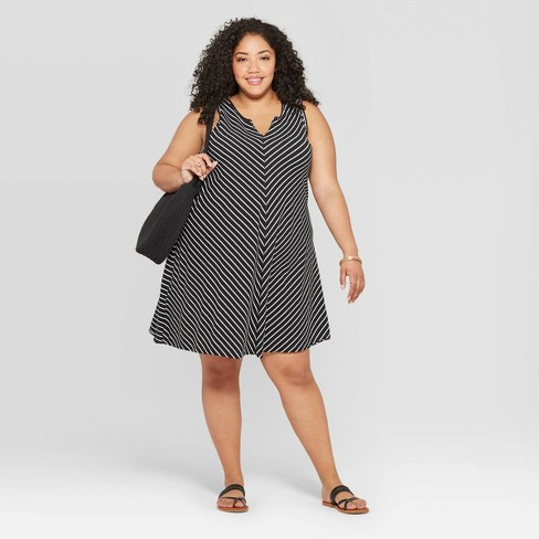 Women\'s Plus Size Striped Sleeveless U-Neck Tank Dress - Universal Thread™