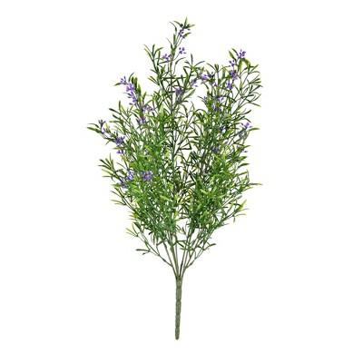 "Vickerman 21"" UV Coated Bush with Purple Flowers and Green Velvet Foliage."