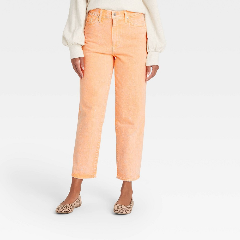 Women 39 S Super High Rise Vintage Straight Cropped Jeans Universal Thread 8482 Orange 4 Long