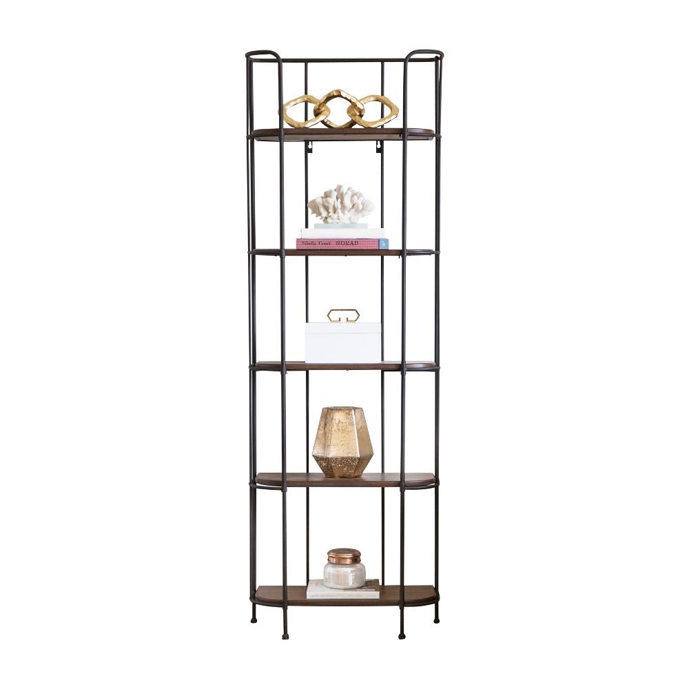 Stocklet Industrial 5 Tier Iron & Wood Book Shelf - Oak (Brown) - Abbyson Living