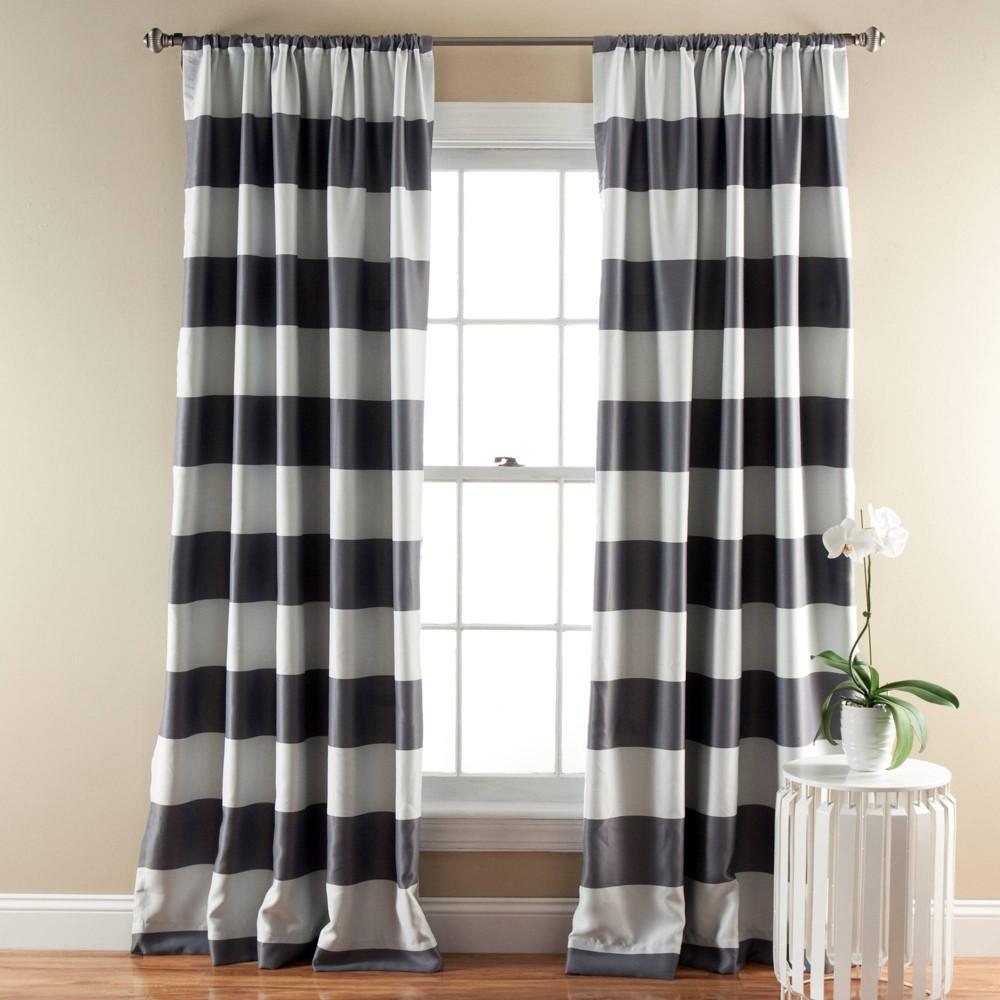 Striped Curtain Panels Room Darkening Gray - Lush Décor