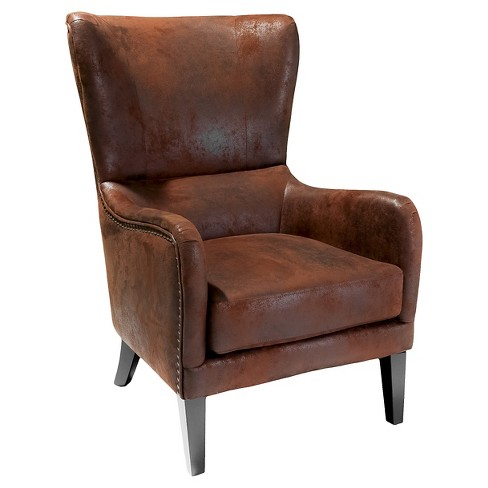 Lorenzo Studded Club Chair Brown - Christopher Knight Home - image 1 of 4