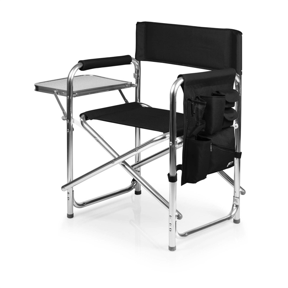 Picnic Time Sports Chair With Table And Pockets Black