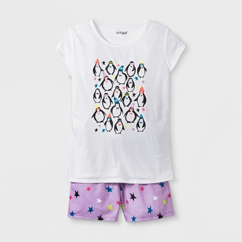 0ab4be52cad3 Girls  2pc Penguin Graphic Pajama Set - Cat   Jack™ White   Target