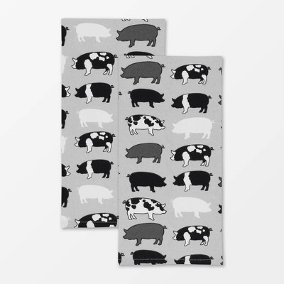 2pk Designer Pigs Print Towel - MU Kitchen