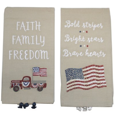 """Tabletop 26.0"""" Faith Family Freedom Dish Towel American Flag Red Truck Primitives By Kathy  -  Kitchen Towel"""