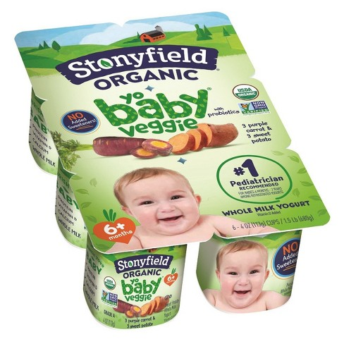 Stonyfield Organic Baby Veggie Whole Milk Kids' Yogurt - 6pk/4oz Cups - image 1 of 1