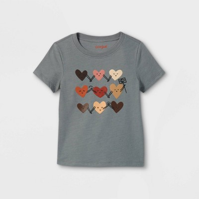 Toddler Boys' Inclusive Hearts Graphic Short Sleeve T-Shirt - Cat & Jack™ Gray